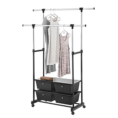 Whitmor Double Garment Rack with Drawers, Black/Chrome (60217624BB)