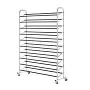 "Whitmor 60-Pair Rolling Shoe Rack, 36.1"" x 17.8"" x 5.2"", Silver (60603989BB)"