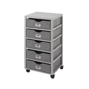 "Whitmor 12.9"" 5 Drawer Storage Cart, Solid Pinewood/Cotton Fabric, Gray (64268083GNBB)"