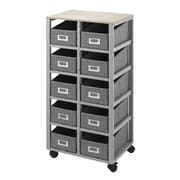 "Whitmor 16.5"" 10 Drawer Storage Cart, Solid Pinewood/Cotton Fabric, Gray (64268084GNBB)"