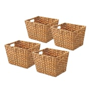 Whitmor Rattique 0.2 gal Organizer Tote Basket, Water Hyacinth, 4/Pack (608415014WH)