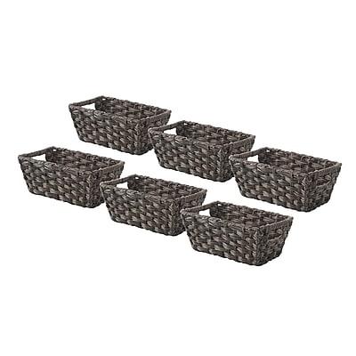 Whitmor Rattique 0.2 gal Organizer Tote Basket, Drift Wood, 6/Pack (608427126DW)