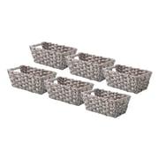 Whitmor Rattique 0.2 gal Organizer Tote Basket, Gray Wash, 6/Pack (608427126GW)