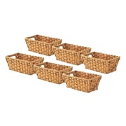 Whitmor Rattique 0.2 gal Organizer Tote Basket, Water Hyacinth, 6/Pack (608427126WH)