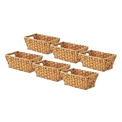 Whitmor Rattique 0.2 gal Organizer Tote Basket, Water Hyacinth, 6/Pack (608427126WH)