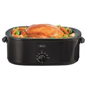 BELLA® 18 qt Turkey Roaster Oven with Gravy Boat Warmer, Black (BLA14640)