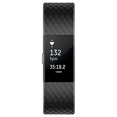 Fitbit Charge 2 Large Fitness Activity Tracker, Black/Gunmetal (FB407GMBKL)