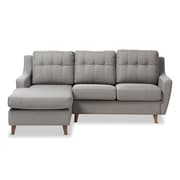 "Baxton Studio Mckenzie 79"" Long Fabric Sectional Sofa, Gray (2633-7299-STPL)"