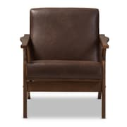 Baxton Studio Bianca Faux Leather Accent Chair, Dark Brown (2633-7544-STPL)