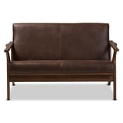 "Baxton Studio Bianca 50"" Long Faux Leather Loveseat, Dark Brown (2633-7545-STPL)"