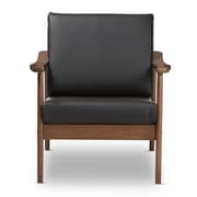 Baxton Studio Venza Faux Leather Accent Chair, Black (2633-7552-STPL)