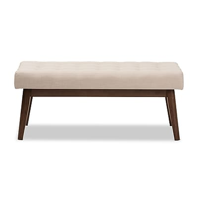 Baxton Studio Elia Fabric Bench, Light Beige (2633-7565-STPL)