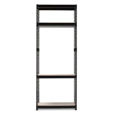 Baxton Studio Gavin Metal 4-Shelf Closet Storage Racking Organizer, Black (2633-7598-STPL)