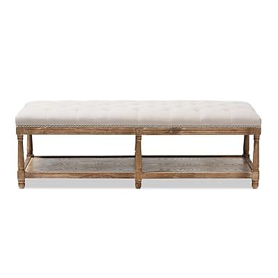 Baxton Studio Celeste Fabric Bench, Beige (2633-7607-STPL)