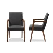Baxton Studio Andrea Fabric Accent Chairs, Dark Gray, 2/Pack (2PC-7365-STPL)