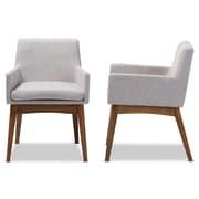 Baxton Studio Nexus Fabric Dining Armchairs, Grayish Beige, 2/Pack (2PC-7589-STPL)