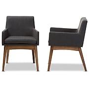 Baxton Studio Nexus Fabric Dining Armchairs, Dark Gray, 2/Pack (2PC-7591-STPL)