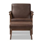Baxton Studio Bianca Faux Leather Accent Chair and Ottoman Set, Dark Brown, 2/Pack (7544-7547-STPL)