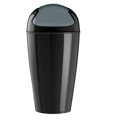 Koziol DEL XL 7.95 Gallon Plastic Swing-Top Wastebasket, Solid Black (5773526)