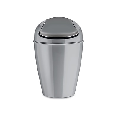 Koziol DEL S 1.32 Gallon Plastic Swing-Top Wastebasket, Solid Cool Grey (5777632)