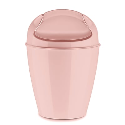 Koziol DEL XS 0.53 Gallon Plastic Swing-Top Wastebasket, Solid Powder Pink (5778638)