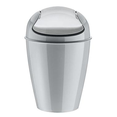 Koziol DEL M 3.17 Gallon Plastic Swing-Top Wastebasket, Solid Cool Grey (5775632)