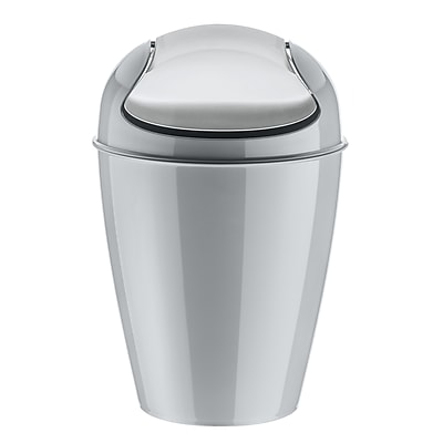Koziol DEL M 3.17 Gallon Plastic Swing-Top Wastebasket, Solid Cool Grey (5775632)