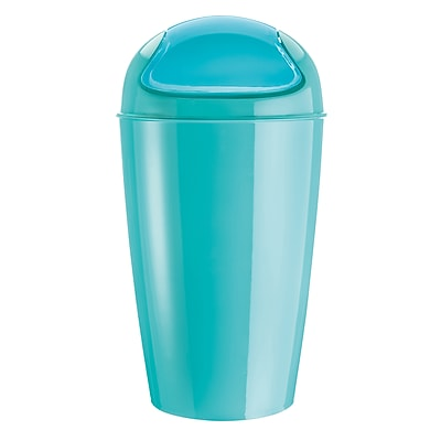 Koziol DEL XL 7.95 Gallon Plastic Swing-Top Solid Aqua (5773619)