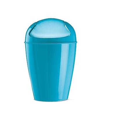 Koziol DEL S 1.32 Gallon Plastic Swing-Top Wastebasket, Solid Aqua (5777619)
