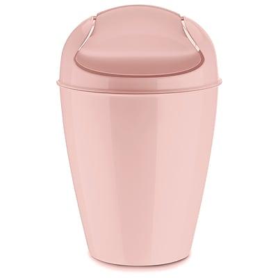 Koziol DEL S 1.32 Gallon Plastic Swing-Top, Wastebasket Solid Powder Pink (5777638)