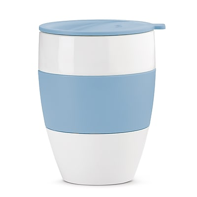 Koziol White with Powder Blue AROMA TO GO 2.0 Insulated Cup with Lid, 13.5 oz (3589487)