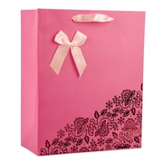 "Vangoddy Texture Paper 9""H x 7 ""W x 4""D Tote Shopping Gift Bags, Natural Kraft, Rose Pink, 10/Carton"