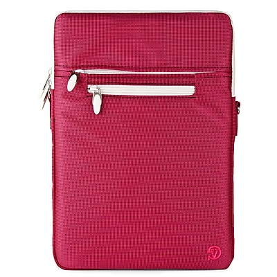 Vangoddy Nylon Crossbody Messenger Bag Sleeve Case fits up to 12.9 inch Tablet, Pink/White (NBKLEA698)