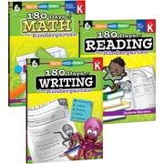 Teacher Created Materials 180 Days of Reading, Writing and Math for Kindergarten 3-Book Set (24589)