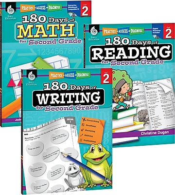Teacher Created Materials 180 Days of Reading, Writing and Math for Second, Grade 3-Book Set (24591)
