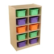 Wood Designs Vertical Storage with (10) Assorted Pastel Trays (16103AP)
