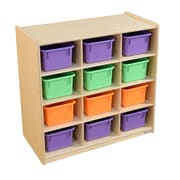 Wood Designs (12) Cubby Storage with Assorted Pastel Trays (16123AP)