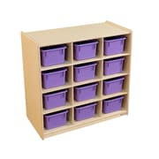Wood Designs (12) Cubby Storage with Purple Trays (16129PP)