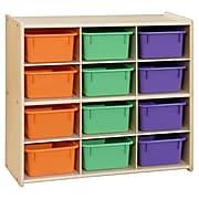 Contender™ Baltic Birch 12-Cubby Storage Unit w/ Assorted Pastel Trays - RTA (C16123AP)
