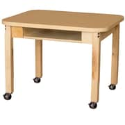 Wood Designs Mobile Classroom High Pressure Laminate Desk with Hardwood Legs- 14""
