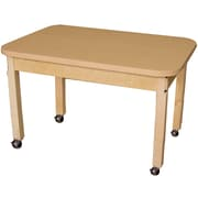 """Wood Designs Mobile 24"""" x 36"""" Rectangle High Pressure Laminate Table with Hardwood Legs- 24"""" (HPL243624C6)"""