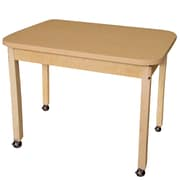 """Wood Designs Mobile 24"""" x 48"""" Rectangle High Pressure Laminate Table with Hardwood Legs- 24"""" (HPL244824C6)"""