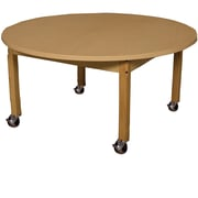 "Wood Designs Mobile 48"" Round High Pressure Laminate Table with Hardwood Legs- 14"" (HPL48RND14C6)"