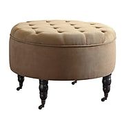 Elle Decor Quinn Round Tufted Ottoman with Storage and Casters, French Beige (OTMQUNBGEP02)