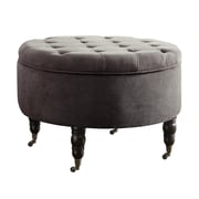 Elle Decor Quinn Round Tufted Ottoman with Storage and Casters, Mink Gray (OTMQUNGRYP02)
