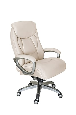 Serta Works Bonded Leather and Mesh Executive Office Chair with Smart Layers Technology, Inspired Ivory (CHR200055)