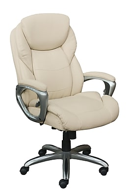 Serta Works My Fit Bonded Leather Executive Office Chair with Active Lumbar Support, Inspired Ivory (CHR200065)