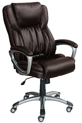 Serta Works Bonded Leather Executive Office Chair, Midnight Black (CH200111)