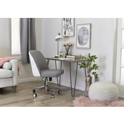 ELLE Decor Maia Fabric Two-Tone Task Chair, Light Gray/White (CHR200019)