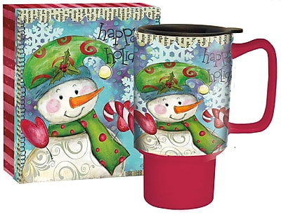 Lang Snowman Follies Travel Ceramic Mug, 18 oz Capacity (10992127023)
